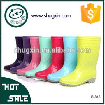 PVC woman's Rain Boots Flat Bottom fashion shoes ladies B-818