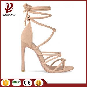 camel sexy suede lace women sandals shoe