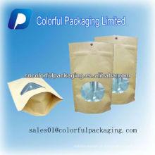 Levante-se sacos de empacotamento do chá do café do papel de embalagem de Kraft com / sem janela