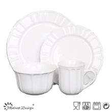 Set de vaisselle en porcelaine gaufré 16PCS