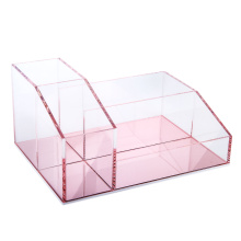 Vanity Makeup Organizer Pink Mirror Base
