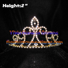 Wholesale Rhinestone Tiaras In Gold Color