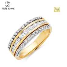 Fashion Stainless Steel CZ Crystal Clay Paved Gold IP Plating Wedding Eternity Ring
