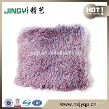 Vente rapide cheveux longs bouclés mongole coussin de fourrure