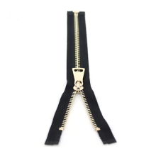 No.5 Open End Shiny Gold Latón Metal Zipper