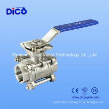 3PC M3 válvula de esfera de aço inoxidável com almofada de montagem