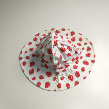 Baby Girl Algodão Poplin Strawberry Print Floppy Hat