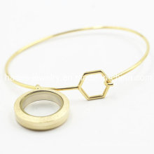 316L Stainless Steel Plating Gold Bangle with Locket