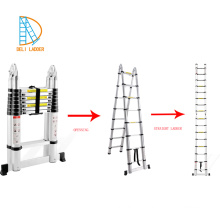 2.8+2.8m aluminum telescopic multi-purpose folding ladder with joint