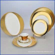 P&T porcelain factory ,Gold plated plates dishes, high quality dishes