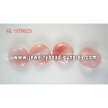 Flat round shape natural stone beads
