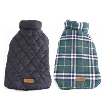 Reversible Checked Dog Jacke Mantel Winter Warm Großhandel Hundebekleidung