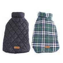Manteau de veste de chien réversible vérifié Manteau d'hiver chaud gros vêtements de chien