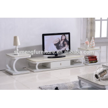 Functional glass marble top tv stand