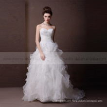 Glamorous Sweet Heart Lace & Beads On The Bodice Ruffle Bottom Wedding Dress With Chapel Train