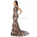 2017 neue Mode Charming OEM Service kleinen Schwanz lange Abendkleid Muster mit schwarzer Farbe Spitze
