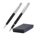 Leather ballpen and roller pen set