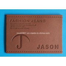 Patch en cuir de couleur changée pour le vêtement Patchs d'étiquette en cuir véritable lavés de Brown Vintage de haute qualité
