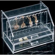 caixa de joias de acrílico transparente com gaveta