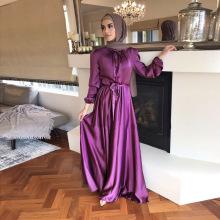 Muslim Pure Color Satin Muslim Long Dresses