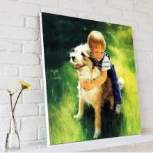 Pequeno, menino, jogo, cão, óleo, pintura, lona