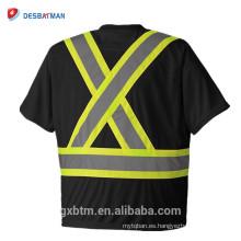 3M Manga corta Rib Crew Neck Naranja Reflectante Hi-Vis Camiseta de seguridad con bolsillo en el pecho y correa de clip de Radiophone