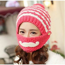 Fashion Girl Mouth Coverd Warm Winter Knitted Hats