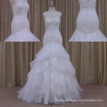 2016 Fashion Lace Organza Mermaid White Black Lace Wedding Dress