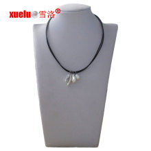 Fashion Double String Leather Necklace with 4PCS Baroque Natural Pearl Pendant
