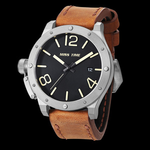custom leather strap japanese movement quartz watch