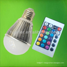 High power e27 5w rgb led bulb with remote control