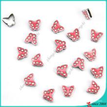 Rosa Kristall Schmetterling Slider Charms Großhandel (SC16040954)