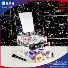 Organizador de cosméticos acrílicos com 3 gavetas, divisores removíveis