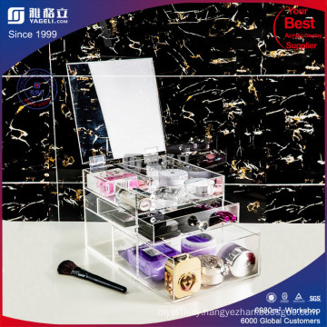 Acrylic Cosmetic Organizer with 3 Drawers, Removable Dividers