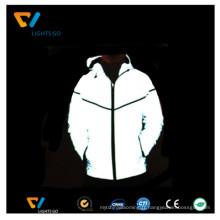 Lueur haute visibilité dans la veste réfléchissante lumineuse noire / gaine réfléchissante photoluminescente