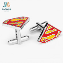 Free Design Wholesale Alloy Enamel Custom Superman Cufflink for Promotion