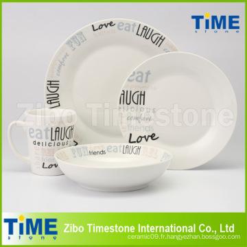 Ensemble de dîner en porcelaine blanche 16PCS avec impression