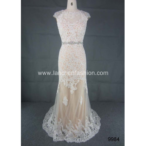 A-line Beading Long Bridesmaid Dress
