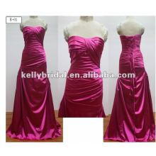 Vestidos de dama de honor satinado con plisados vestido de noche largo Elegent vestidos de baile