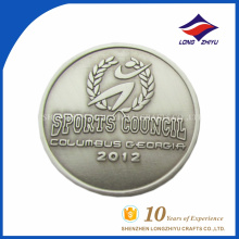 Silver round award soprts badge for wholesale