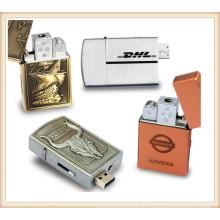Золотой Серебряный Зажигалка USB флэш-накопитель для человека (EM030)