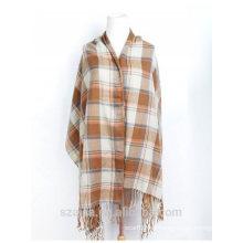Mantón de poncho de invierno de tartán de señoras