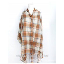 Ladies plaid winter poncho shawl