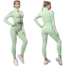 2021 Hot sale women seamless running gym breathable yellow yoga set fitness long sleeve high waist crop top for ladies