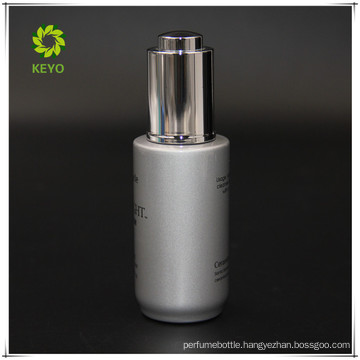 30ml silver colored cosmetic glass dropper bottle