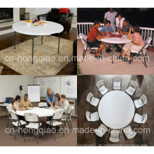 Plastic Folding Round Table, 5ft Round Folding in Half Table / 152cm Kunststoff Faltbare Runde Bankett Tisch, Outdoor Folding Half Moon Table
