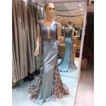 2017 Guangzhou ärmellosen blauen exquisite embroided Arbeit Satin Meerjungfrau Prom Abendkleid
