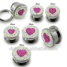 Moda coração em forma de orelha plug body piercing jóias