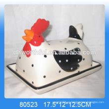 Plato de mantequilla animal de cerámica de diseño popular con forma de pollo