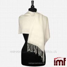 100% lana Pashmina de la bufanda del mantón de la señora blanca